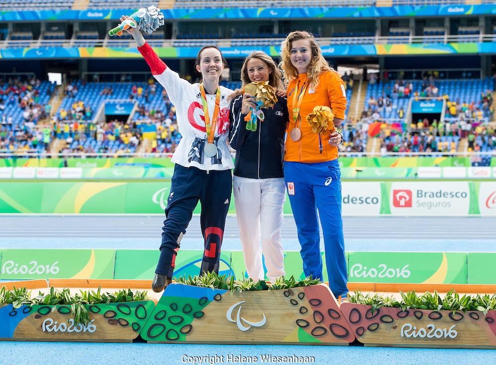 Marlene Van Gansewinkel, Marie amelie le Fur, Stefanie Reid attend teh Medal Ceremony of the Womens Longjump Final T44 during day 2 of the Paralympic Games in Rio de Janeiro, Brasil, September 9, 2016 of the Paralympic Games in Rio de Janeiro, Brasil, September 9, 2016