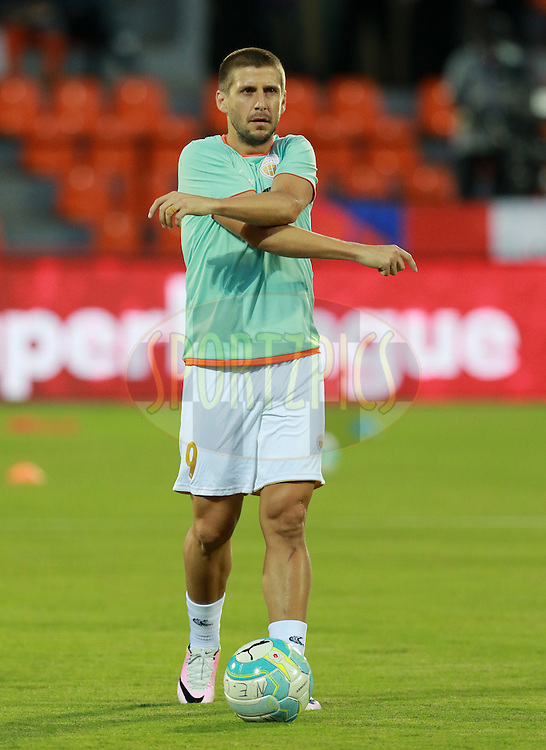 Emiliano Alfaro of NorthEast United FC warm up before the start of the match 7 of the Indian Super League (ISL) season 3 between Mumbai City FC and NorthEast United FC held at the Mumbai Football Arena in Mumbai, India on the 7th October 2016.<br /> <br /> Photo by Vipin Pawar / ISL/ SPORTZPICS
