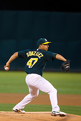 June 28, 2011; Oakland, CA, USA; Oakland Athletics starting pitcher Gio Gonzalez (47) pitches against the Florida Marlins during the first inning at the O.co Coliseum.  Oakland defeated Florida 1-0.