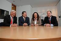 21 MAY 2007, BERLIN/GERMANY:<br /> Frank-Walter Steinmeier, SPD, Bundesaussenminister, Kurt Beck, SPD Parteivorsitzender, Andrea Nahles, MdB, SPD, Vorsitzende des Forums Demokratische Linke 21, Peer Steinbrueck, SPD, Bundesfinanzminister, (v.L.n.R.), vor einem gemeinsamen Gespraech, vor der Vorstellung der drei Kandidaten fuer den Posten des Stellvertretenden Parteivorsitzenden in den SPD-Gremien durch Beck, Buero des Parteivorsitzenden, Willy-Brandt-Haus<br /> IMAGE: 20070521-01-020<br /> KEYWORDS: Peer Steinbrück, Stellvertreter, Gruppe, Gruppenfoto, Gruppenbild, Gespräch