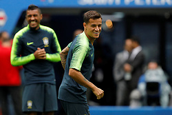 June 21, 2018 - Saint Petersburg, Russia - Philippe Coutinho (C) during a Brazil national team training session during the FIFA World Cup 2018 on June 21, 2018 at Saint Petersburg Stadium in Saint Petersburg, Russia. (Credit Image: © Mike Kireev/NurPhoto via ZUMA Press)