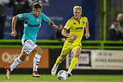 Forest Green Rovers Dayle Grubb(8) on the ball during the EFL Trophy match between Forest Green Rovers and Cheltenham Town at the New Lawn, Forest Green, United Kingdom on 4 September 2018.