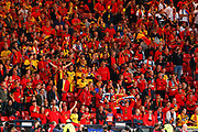 Belgium fans celebrate their teams early goal during the UEFA European 2020 Qualifier match between Scotland and Belgium at Hampden Park, Glasgow, United Kingdom on 9 September 2019.