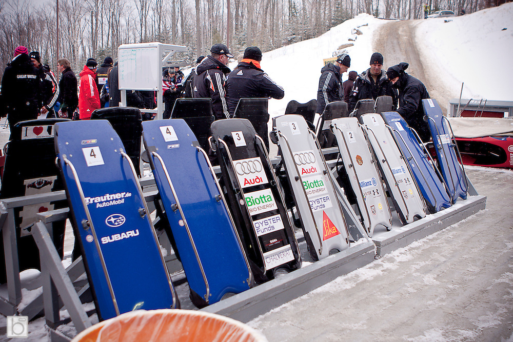 Skeleton sleds line the start deck for the team event at the Bobsled World Championships at the Olympic Sports Complex in Lake Placid, N.Y. Sunday, Feb 22, 2009.  (Photo/Todd Bissonette - usabobsledphotos.com)