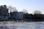 "Putney, Great Britain, Both crews racing towards the Putney Hard, during the 2007 Cambridge University Trial Eights, One Night Stand, closest, just a few feet down to  'True Love'. Course, Putney to Mortlake  11/12/2007 [Mandatory Credit Peter Spurrier/Intersport Images]..CUBC. .One Night Stand.  Bow, Alastair MACLEOD, 2. Shane O""MARA, 3. John HEDER, 4. Ryan MONAGHAN, 5. Dan SHAUGHNESSY,, 6 Tom RANSLEY, 7. Tom EDWARDS   Stroke Dave Billings, Cocx, Rebecca DOWBIGGIN...True Love. Bow Spenser HUNSBERGER, 2, James STRAWSON, 3. Henry PELLY, 4. Bartosz SZCZYRBA, 5. Pete MARSHLAND, 6. Tobias GARNETT , 7 Colin SCOTT Stroke Tim PERKINS, Cox Russell GLENN. , Rowing Course: River Thames, Championship course, Putney to Mortlake 4.25 Miles, , Varsity Boat Race. , Pete Marsland"