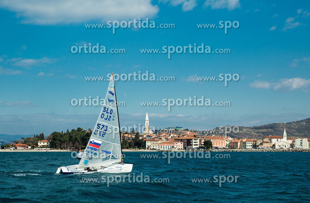 """Vasilij Zbogar of Slovenia, two times Olympic medalist in sailing during christening of his new Finn class boat named """"Izola"""" and ceremonial launching, on February 28, 2015 in Izola / Isola, Slovenia. Photo by Vid Ponikvar / Sportida"""