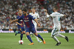 August 16, 2017 - Madrid, Spain - André Gomes with the ball. Real Madrid defeated Barcelona 2-0 in the second leg of the Spanish Supercup football match at the Santiago Bernabeu stadium in Madrid, on August 16, 2017. (Credit Image: © Antonio Pozo/VW Pics via ZUMA Wire)