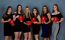 NEWPORT, WALES - Saturday, May 19, 2018: Safia Middleton-Patel, Anna Bebb, Isabella Reidford, Lucia Molinari, Jessica Smith and Lucy Farrell during the Football Association of Wales Under-16's Caps Presentation at the Celtic Manor Resort. (Pic by David Rawcliffe/Propaganda)