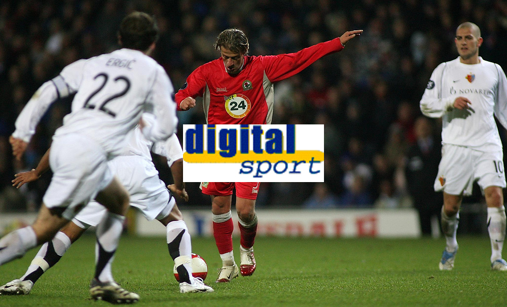 Photo: Paul Thomas.<br /> Blackburn Rovers v Basle. UEFA Cup. 02/11/2006.<br /> <br /> Tugay (Red) of Blackburn lines up his shot which he scores from.
