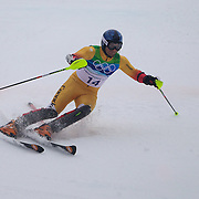 Winter Olympics, Vancouver, 2010.Michael Janyk, Canada, in action during the Alpine Skiing, Men's Slalom at Whistler Creekside, Whistler, during the Vancouver Winter Olympics. 27th February 2010. Photo Tim Clayton