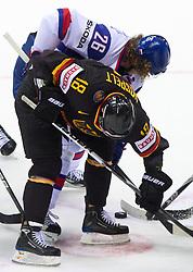 Kai Hospelt of Germany vs Michal Handzus of Slovakia during ice-hockey match between Slovakia and Germany of Group A of IIHF 2011 World Championship Slovakia, on May 1, 2011 in Orange Arena, Bratislava, Slovakia. (Photo By Vid Ponikvar / Sportida.com)
