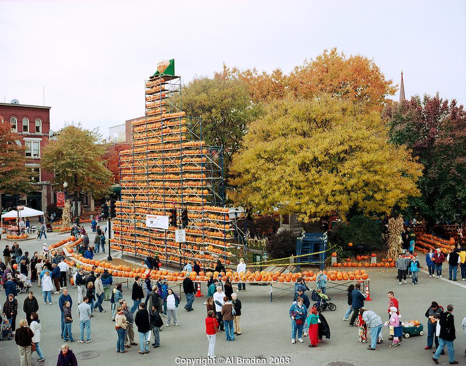 Central Square Jack o Lantern tower at Keene Pumpkin Festival.