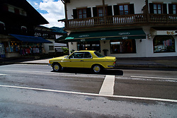 ROTTACH-EGERN, GERMANY - Wednesday, July 26, 2017: A vintage yellow Mercedes car in Rottach-Egern, the base for Liverpool's preseason training camp in Germany. (Pic by David Rawcliffe/Propaganda)