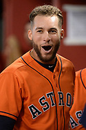 PHOENIX, AZ - AUGUST 15:  George Springer #4 of the Houston Astros cheers after the Astros score in the second inning against the Arizona Diamondbacks at Chase Field on August 15, 2017 in Phoenix, Arizona.  (Photo by Jennifer Stewart/Getty Images)