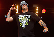 LONDON, ENGLAND - JULY 17:  B-Real of Cypress Hill performs live on the Main Stage during day one of Lovebox Festival 2015 at Victoria Park on July 17, 2015 in London, England.  (Photo by Simone Joyner/WireImage)