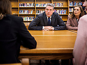 """08 APRIL 2019 - DES MOINES, IOWA: Rep. TIM RYAN and his wife, ANDREA RYAN, listen to teachers in the library at Callanan Middle School. Ryan, a candidate for the Democratic ticket of the US presidency, visited Callanan Middle School in Des Moines to discuss education issues. Ryan declared his candidacy on the US television show """"The View"""" on April 4. Ryan, 45 years old, represents Ohio's 13th District, which includes Lordstown, where a large General Motors plant recently closed. He is the latest Democrat to announce his candidacy to be the Democratic nominee in the 2020 election. Iowa holds its presidential caucuses on Feb. 3, 2020.       PHOTO BY JACK KURTZ"""