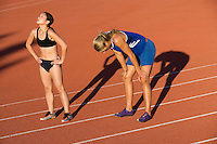 Female athletes after completed run