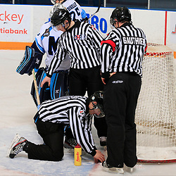 Toronto, ON - Jan 10 : Ontario Junior Hockey League Game Action between Whitby Fury Hockey Club & St.Michael's Buzzer's Hockey Club. Refree Dave Gauthier and Linesman Josh Schein, and Aaron Neely.<br /> (Photo by Mike Ivall / OJHL Images)