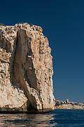 Rocky cliff in Morro de Toix, Calpe village, Alicante province, Spain