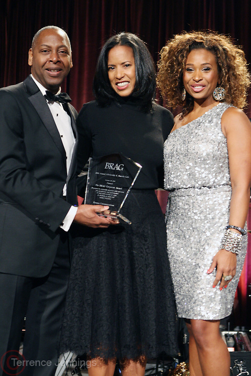 22 October 2010- New York, New York- l to r: Gary Lampley, President, BRAG, Michelle Ebanks, President, Essence Communications, BRGA Honoree and Tanika Ray, BRAG Gala Host, and at the BRAG 40th Annual Scholarship & Awards Dinner Gala held at Cipriani Wall Street in October 22, 2010 in New York City. Photo Credit: Terrence Jennings/Sipa