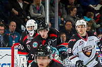 KELOWNA, CANADA - OCTOBER 3:  Roman Basran #30 and Libor Zabransky #7 of the Kelowna Rockets look for the shot on net or pass to Dawson Holt #19 of the Vancouver Giants on October 3, 2018 at Prospera Place in Kelowna, British Columbia, Canada.  (Photo by Marissa Baecker/Shoot the Breeze)  *** Local Caption ***