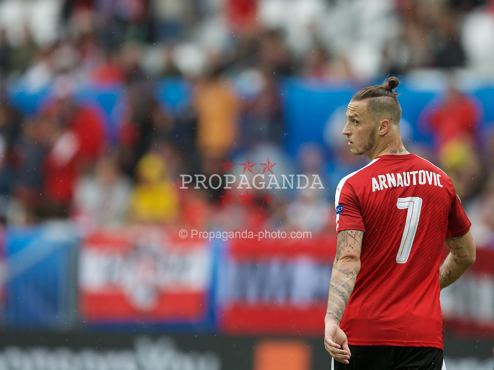 BORDEAUX, FRANCE - Monday, June 14, 2016: Austria's  Marko Arnautovic in action against Hungary during the UEFA Euro 2016 Championship match at Stade de Bordeaux. (Pic by Paul Greenwood/Propaganda)