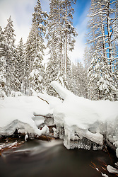 """Snowy Alder Creek 2"" - Photograph of icicles hanging under a lot of snow at Alder Creek in Tahoe Donner, Truckee, California."