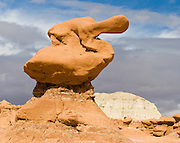 Rock duck. The light-colored Curtis Formation. caps the reddish-brown suite of rocks called Entrada Sandstone where the park goblins form. Admire fanciful hoodoos, mushroom shapes, and rock pinnacles in Goblin Valley State Park, in Emery County between the towns of Green River and Hanksville, in central Utah, USA. The Goblin rocks eroded from Entrada Sandstone, which is comprised of alternating layers of sandstone (cross-bedded by former tides), siltstone, and shale debris which were eroded from former highlands and redeposited in beds on a former tidal flat.