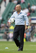Twickenham, United Kingdom. England Coach, Eddie JONES, shows off his close control skills with a football, before the, Six Nations International Rugby, Calcutta Cup Game, England vs Scotland, RFU Stadium, Twickenham, England, <br /> <br /> Saturday  11/03/2017<br /> <br /> [Mandatory Credit; Peter Spurrier/Intersport-images]