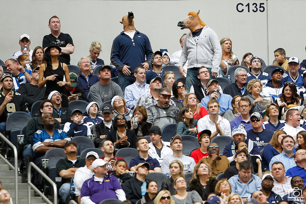 Two Dallas Cowboys fans wear horse masks at Cowboys Stadium in Arlington, Texas, on December 23, 2012.  (Stan Olszewski/The Dallas Morning News)
