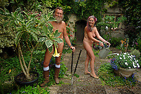 Picture By Jim Wileman  17/08/2007  Ian and Barbara Pollard, The Naked Gardeners, pictured at home at the Abbey House Gardens, in Malmesbury, Wiltshire.