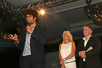 (L-R) Richard Ayoade, Gabby Roslin, Craig Leach. The Silver Clef Lunch 2013 in aid of Nordoff Robbins held at the London Hilton, Park Lane, London.<br /> Friday, June 28, 2013 (Photo/John Marshall JME)
