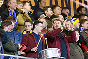 Shrewsbury Town fans in full voice during the The FA Cup fourth round match between Shrewsbury Town and Wolverhampton Wanderers at Greenhous Meadow, Shrewsbury, England on 26 January 2019.