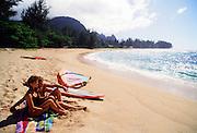 Couple on beach, Kauai, Hawaii