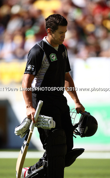 NZ's Ross Taylor walks off after being caught.<br /> Fifth Chappell-Hadlee Trophy one-day international cricket match - New Zealand v Australia at Westpac Stadium, Wellington. Saturday, 13 March 2010. Photo: Dave Lintott/PHOTOSPORT
