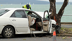 Auckland-Tamaki Drive blocked after car crashes into tree