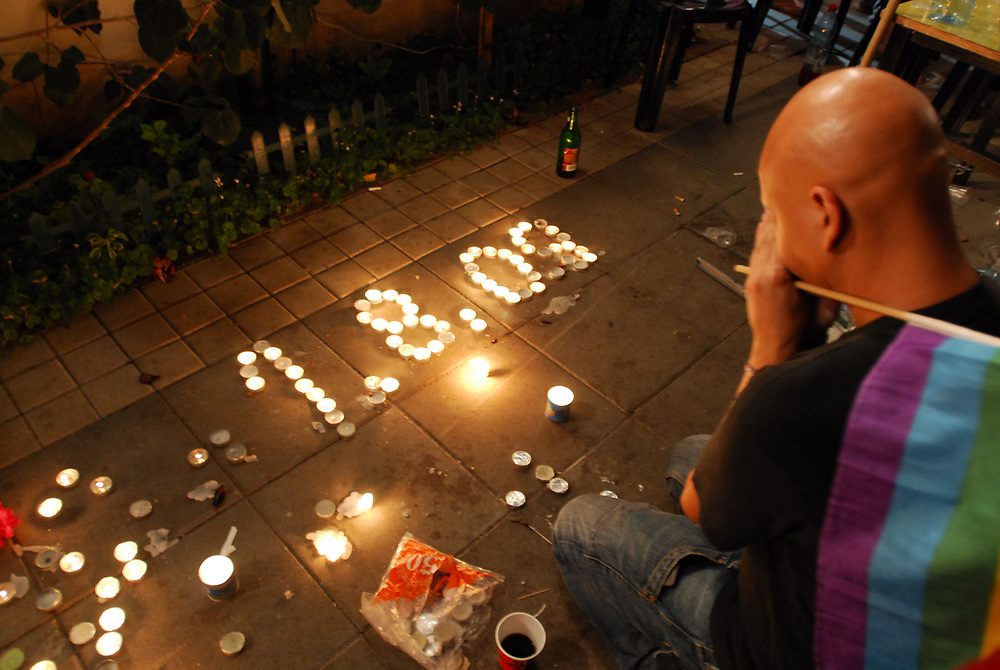 Members of the gay community mourn the death of three of the community members in Gan Meir in Tel Aviv. Three people were killed, and ten severly wounded, when a gun-man opened fire at a gay club in Tel Aviv late Saturday night. August 02, 2009. Photo by Gili Yaari