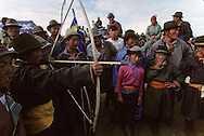 Mongolia. naadam, Archery (sur qarvaq) is one of the  - three virile sports -  (er kuni gurvan naadam); the others are horse racing and wrestling (Ik Uul, in the aymag of Zavqan).