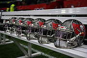 Players helmets (Tampa Bay) during the International Series match between Tampa Bay Buccaneers and Carolina Panthers at Tottenham Hotspur Stadium, London, United Kingdom on 13 October 2019.