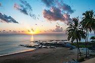 Sunset on the beach at Hotel des Roches in Kourou, French Guiana