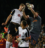 Brede Hangeland scores Fulham's 1st goal.<br /> <br /> Fulham FC vs AS Roma UEFA Europa League Group E 22/10/09