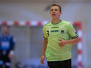 HÅNDBOLD: Carl-Emil Haunstrup (Nordsjælland) under kampen i 888-Ligaen mellem Nordsjælland Håndbold og Århus Håndbold den 2. september 2017 i Helsinge Hallen. Foto: Claus Birch.