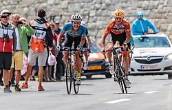 07.07.2017, St. Johann Alpendorf, AUT, Ö-Tour, Österreich Radrundfahrt 2017, 5. Kitzbühel - St. Johann/Alpendorf (212,5 km), im Bild v.l.: Riccardo Zoidl (AUT, Team Felbermayr Simplon Wels), Glocknerkönig Pieter Weening (NED, Roompot - Nederlandse Loterij) // f.l.: Riccardo Zoidl (AUT Team Felbermayr Simplon Wels) Glockner King Pieter Weening (NED Roompot - Nederlandse Loterij) during the 5th stage from Kitzbuehel - St. Johann/Alpendorf (212,5 km) of 2017 Tour of Austria. St. Johann Alpendorf, Austria on 2017/07/07. EXPA Pictures © 2017, PhotoCredit: EXPA/ JFK