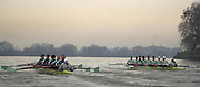 19/12/2003 - Photo  Peter Spurrier.2004 Cambridge University Boat Club Trail 8's..Both trail crews Guns and Roses [right] racing along the Fulham Wall. Varsity; Boat Race Rowing Course: River Thames, Championship course, Putney to Mortlake 4.25 Miles,<br /> Sunrise, Sunsets, Silhouettes © Peter SPURRIER, Atmospheric, Rowing