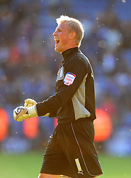 Leicester City's Kasper Schmeichel celebrates Leicester City's win on the final whistle - Photo mandatory by-line: Joe Meredith/JMP  - Tel: Mobile:07966 386802 06/10/2012 - Leicester City v Bristol City - SPORT - FOOTBALL - Championship -  Leicester  - King Power Stadium