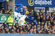 Everton defender Ramiro Funes Mori   and Swansea City midfielder Leon Britton battle in the air during the Barclays Premier League match between Everton and Swansea City at Goodison Park, Liverpool, England on 24 January 2016. Photo by Simon Davies.
