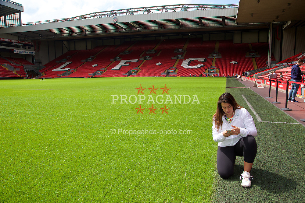 LIVERPOOL, ENGLAND - Saturday, June 21, 2014: Wimbledon champion Marion Bartoli visits Anfield during Day Three of the Liverpool Hope University International Tennis Tournament. (Pic by David Rawcliffe/Propaganda)