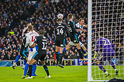 Conor Townsend (West Brom) heads the ball away from goal during the FA Cup fourth round match between Brighton and Hove Albion and West Bromwich Albion at the American Express Community Stadium, Brighton and Hove, England on 26 January 2019.