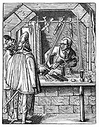 The Sword Maker. Craftsman at his workbench holds item in a vice while he works on it with a file. Around him are daggers and swords he has made. Woodcut by Jost Amman (1539-1591) Swiss engraver.