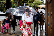JANUARY 09: Japanese women who celebrate turning 20 years old, clad in Japanese kimono during a coming of age ceremony at Meiji Jingu shrine in Tokyo, on Coming of Age Day national holiday, Monday, Jan. 9, 2017. While many festive ceremonies are held in various venues throughout Japan, The day is marked by those who turned 20 in the past year after April 1 or will be 20 before March 31 this year. 09/01/2017-Tokyo, JAPAN